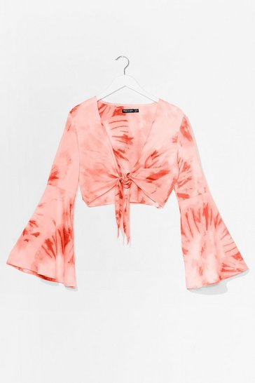 Pink It's Groovy Cropped Tie Dye Top