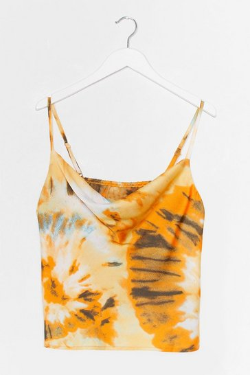 Yellow Right On Tie Dye Cowl Crop Top