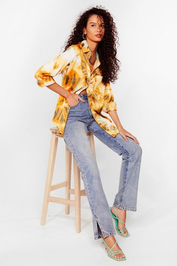 Yellow Right on Tie Dye Satin Shirt
