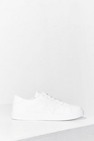 White It All Lines Up Star Perforated Sneakers