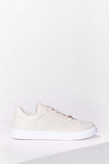 Beige Totally Perf Lace-Up Sneakers
