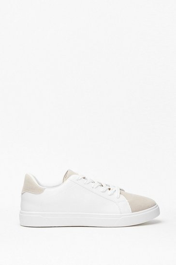 Grey Walk Right in Two-Tone Faux Leather Sneakers