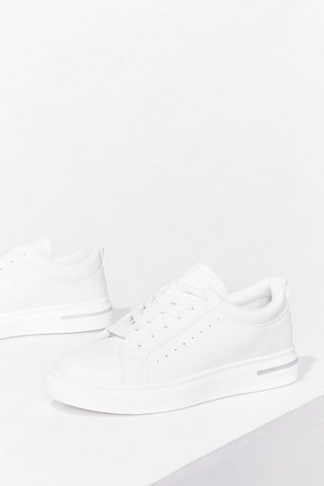White PU Contrast Top Line Trainers