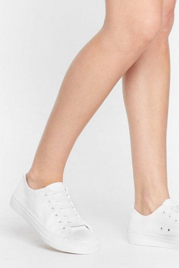 White PU Mono Lace Up Toe Bump Sneakers
