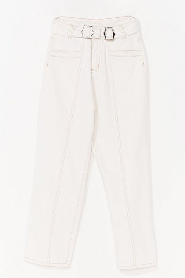 Ecru Don't Tell Mom High-Waisted Buckle Jeans