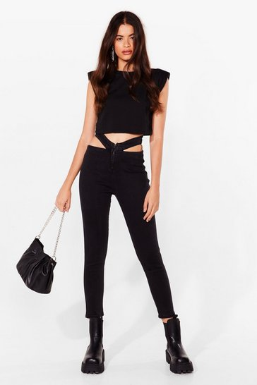 Black Taking These Babies Cut-Out Skinny Jeans