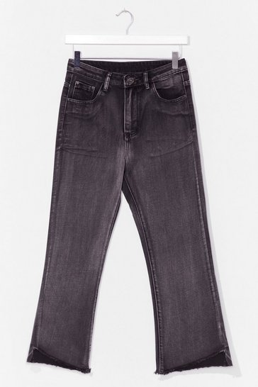 Washed black Without a Flare Cropped Jeans