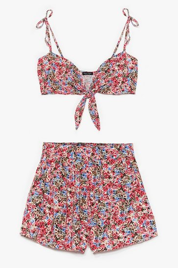 Black California Dreamin' Floral Bra Top and Shorts Set