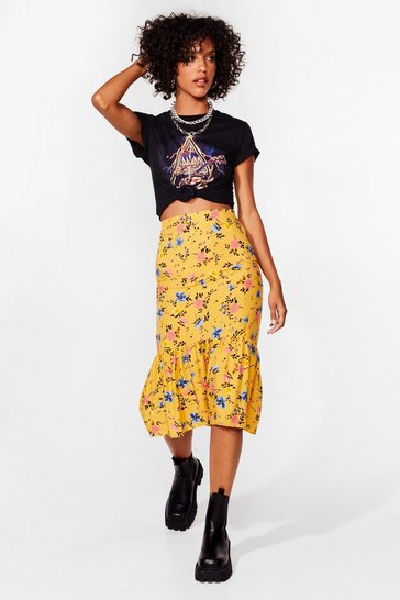 Yellow Grow Big Deal Floral Midi Skirt