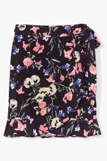 Black Thanks a Bunch Floral Wrap Mini Skirt