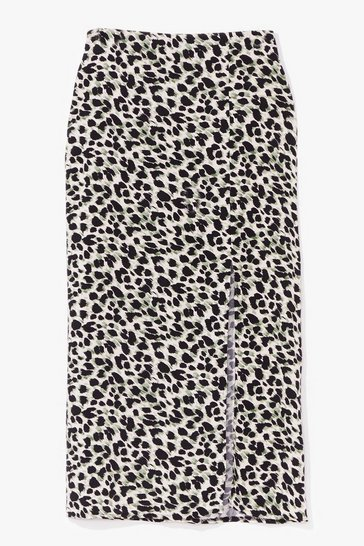 Pistachio This is Our Meow-ment Leopard Midi Skirt