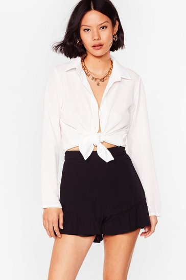 White Knew You Were Ruffle High-Waisted Shorts