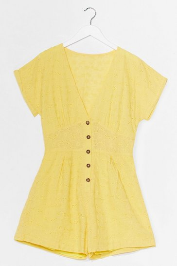 Yellow Hole-d Up Broderie Button-Down Romper