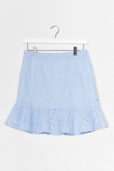 Light blue Sew Good to You Broderie Anglaise Mini Skirt