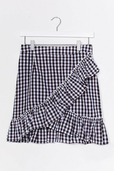 Black Gingham What They Ask For Ruffle Mini Skirt