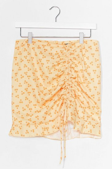Cream Hitting the Spot Ruched Mini Skirt