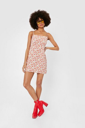 Orange Ditsy Floral Strappy Mini Dress