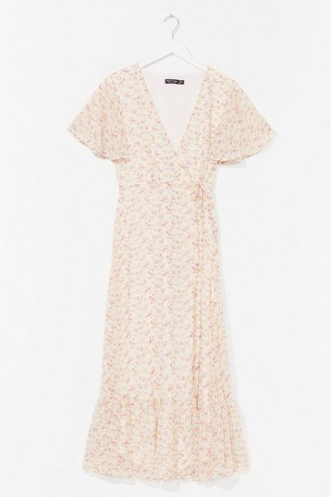 White Plant Resist You Wrap Midi Dress