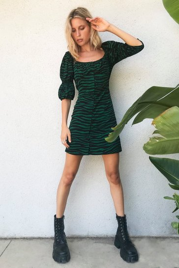 Bright green Zebra Square Neck Dress with Underbust Seam