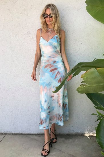 Baby blue Right on Tie Dye Slip Maxi Dress