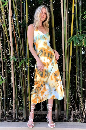 Orange Right on Tie Dye Slip Maxi Dress