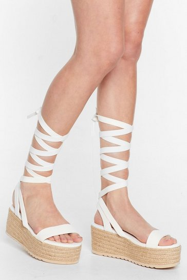 White One Step Ahead Lace-Up Platform Sandals