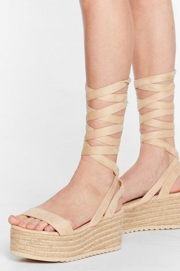Natural One Step Ahead Lace-Up Platform Sandals