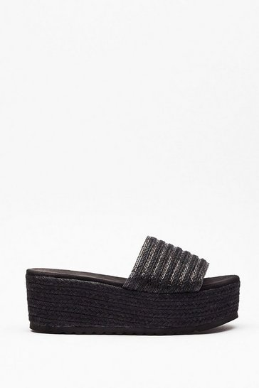Black You're a Natural Woven Platform Sandals