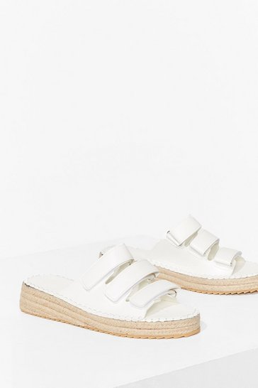 White Triple Threat Woven Strappy Sandals