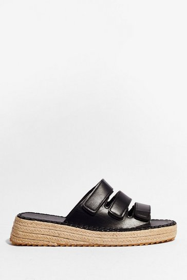 Black Strappy Woven Slip-On Sandals
