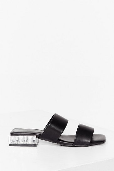 Black Shinin' on the Dancefloor Faux Leather Sandals
