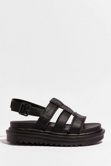 Black Strap to Reality Faux Leather Chunky Sandals