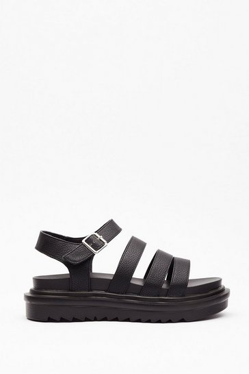 Black Take a Step Back Studded Chunky Sandals