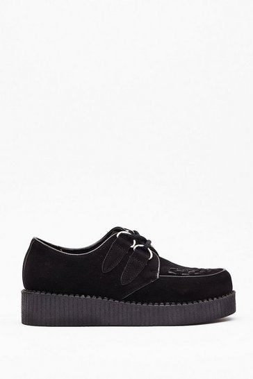 Black Creepin' Up On Me Faux Suede Chunky Shoes