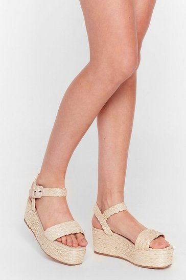 Natural I've Woven You Platform Sandals