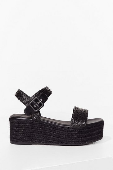 Black I've Woven You Platform Sandals