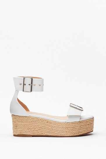 White Buckle Up Your Ideas Espadrille Platform Sandals
