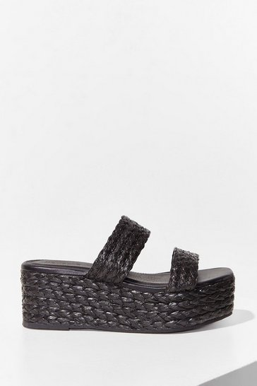 Black Mule the World Woven Platform Sandals