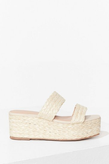 Nude At a Paper Date Straw Platform Sandals
