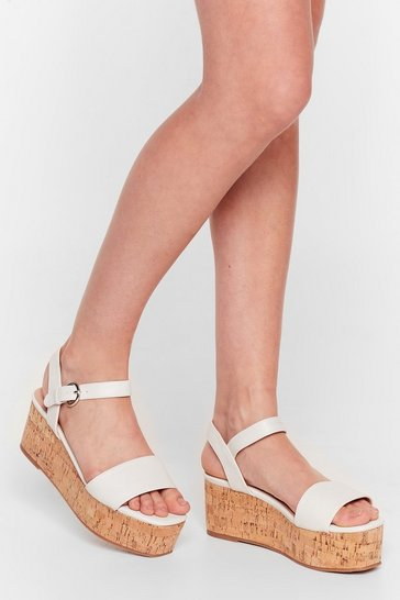 White Step This Way Faux Leather Platform Sandals