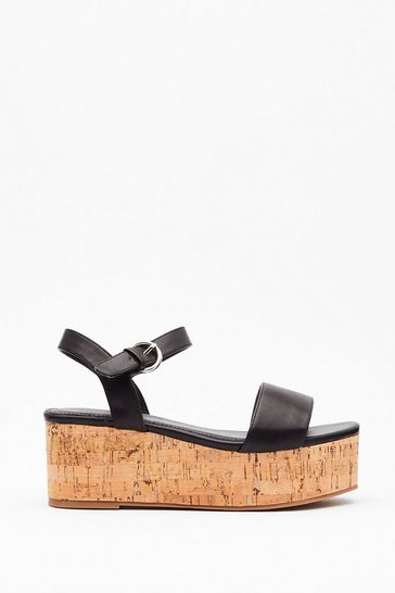 Black Step This Way Faux Leather Platform Sandals