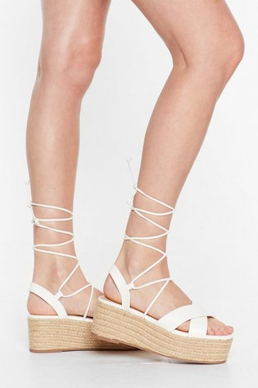 White Tie Me Babe Lace-Up Platform Sandals