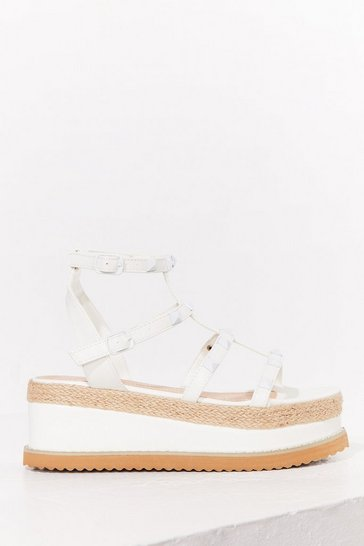 White I'll Be Stud to You Faux Leather Platform Sandals