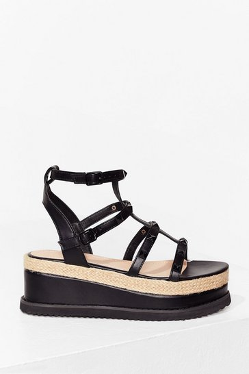 Black I'll Be Stud to You Faux Leather Platform Sandals