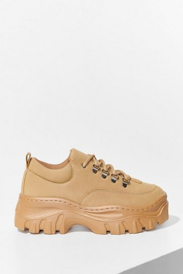 Sand Get Down With Me Faux Leather Wide Fit Trainers