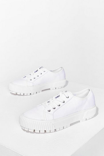 White When Great Minds Cleat Canvas Sneakers