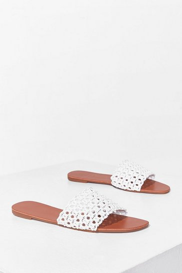 White Woven to Play Flat Sandals