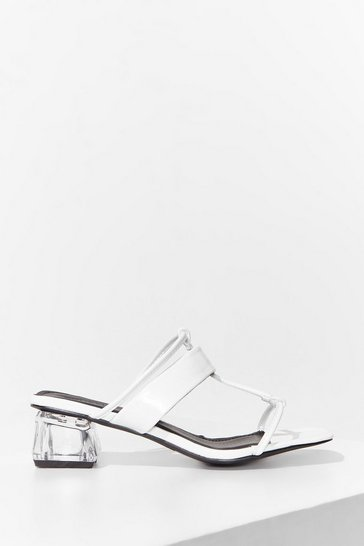 White Clear to See Faux Leather Strappy Sandals