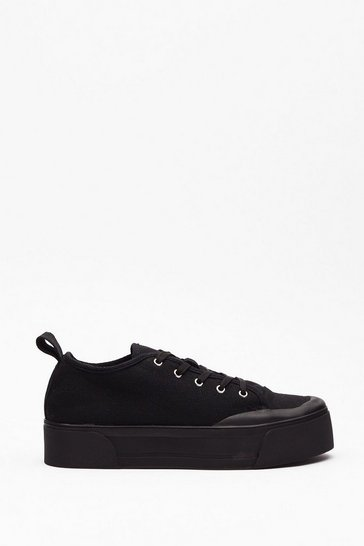Black On Top Form Canvas Platform Sneakers