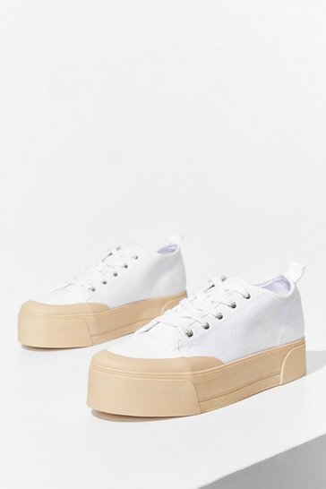White I'll Take You There Canvas Platform Sneakers